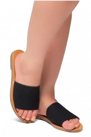 HerStyle Leanna- Lightweight Flat Easy Slide-On Sandals (Black)
