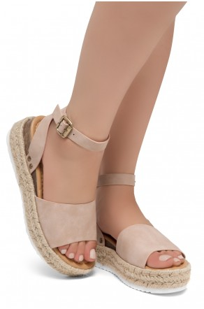 Shoe Land Legossa-Women's Open Toe Ankle Strap Platform Wedge Shoes Casual Espadrilles Trim Flatform Studded Wedge Sandals (1825/Mauve)