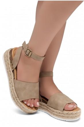 Shoe Land Legossa-Women's Open Toe Ankle Strap Platform Wedge Shoes Casual Espadrilles Trim Flatform Studded Wedge Sandals (1825/Natural)