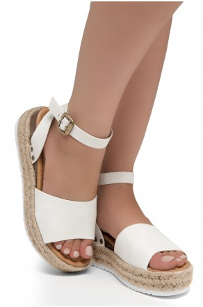 Shoe Land Legossa-Women's Open Toe Ankle Strap Platform Wedge Shoes Casual Espadrilles Trim Flatform Studded Wedge Sandals (1825/OffWhite)