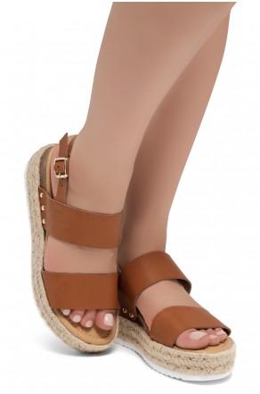 Shoe Land Legossa-Women's Open Toe Ankle Strap Platform Wedge Shoes Casual Espadrilles Trim Flatform Studded Wedge Sandals (1901/Cognac)