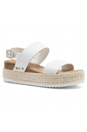 Shoe Land Legossa-Women's Open Toe Ankle Strap Platform Wedge Shoes Casual Espadrilles Trim Flatform Studded Wedge Sandals (1901/White)