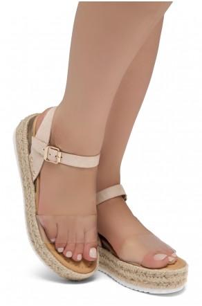 Shoe Land Legossa-Women's Open Toe Ankle Strap Platform Wedge Shoes Casual Espadrilles Trim Flatform Studded Wedge Sandals (ClearNude)