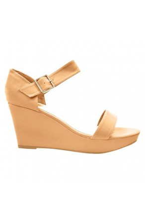 Women's Camel Lessillee 4-inch Soft Wedge Sandal with Gleaming Buckle
