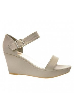 Women's Grey Lessillee 4-inch Soft Wedge Sandal with Gleaming Buckle