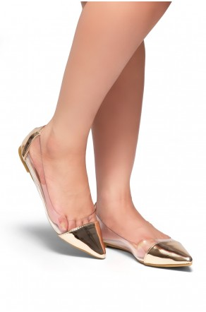 HerStyle Lexie-Pointed toe, Perspex panels (Clear Rose Gold)