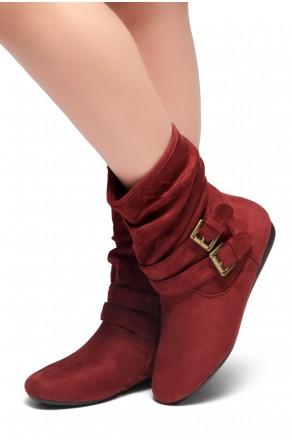 Women's Burgundy Lindell Women's Fashion Calf Flat Heel Side Zipper, double Buckle straps, Slouch Ankle Boots