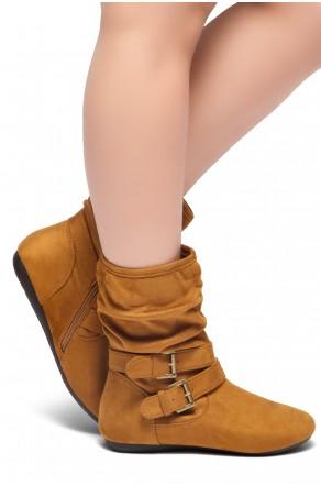 Women's Cognac Lindell Women's Fashion Calf Flat Heel Side Zipper, double Buckle straps, Slouch Ankle Boots