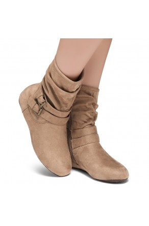 Women's Khaki Lindell Women's Fashion Calf Flat Heel Side Zipper, double Buckle straps, Slouch Ankle Boots-- [Runs Small, Order One Size Bigger]