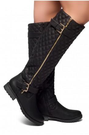 Women's Black Lorreenn-Hi Women's Quilted, Zipper, Double Buckles Accent, Lug sole,Riding Knee-hi Boots