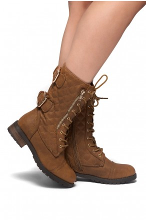 HerStyle Lorreenn Military Lace up, Quilted, Zipper, Double Buckled, Middle Calf Combat Boots (Tan)