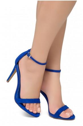 Shoe Land Lovering- Ankle Strap Open Toe Back Closure Stiletto Heel (Royalblue)