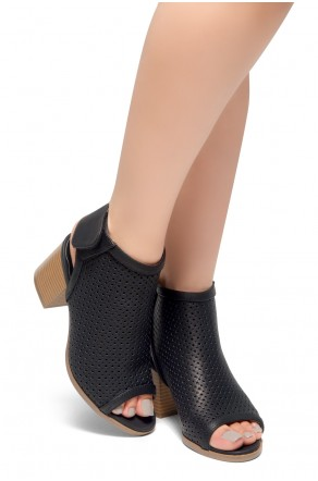 HerStyle Maddie-Block heel, Sex Peep Toe Open Back Booties (Black)