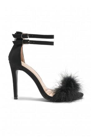 Herstyle Women's Madeena Faux Feather Ankle Strap Stiletto Heel - Black