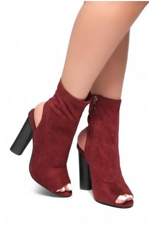 HerStyle Madellyyn Peep Toe Cutout Chunky Heeled Booties (Burgundy)