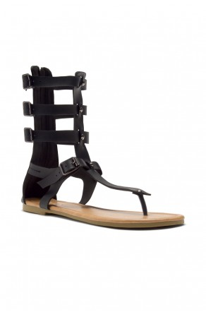 HerStyle Women's Magtie  Strappy buckled thong gladiator flat sandal (Black)