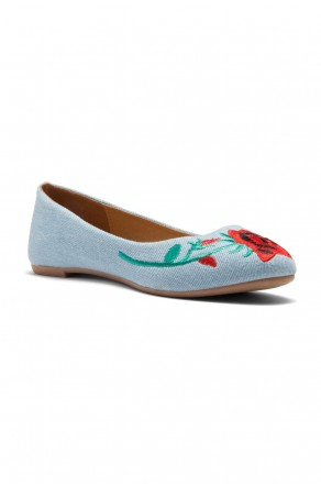 HerStyle Majorca-Suede Round Toe Embroidered Floral Ballet Flat (Blue DM)