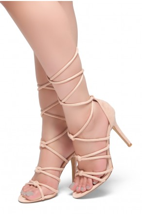 HerStyle MARCH-Stiletto heel, lace-up, back closure sandals (Pink)