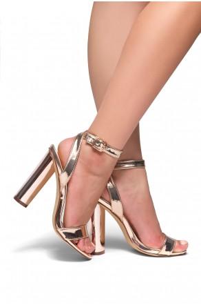 HerStyle Marijka Metallic, Ankle Strap, Open Toe, Cylinder Heel (Rose Gold)