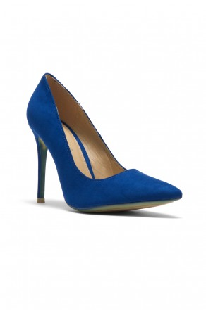 Women's Royal Blue Manmade Marneena 4-inch Sueded Heel with Lightly Pointed Toe