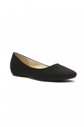 Women's Black Marrillee Sueded Pump Flat with Lightly Pointed Toe