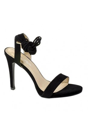 Women's Black Manmade Marritta Sueded 4.5-inch Lace-up Sandal