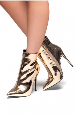 HerStyle Melinda Metallic, stiletto booties (Rose Gold)
