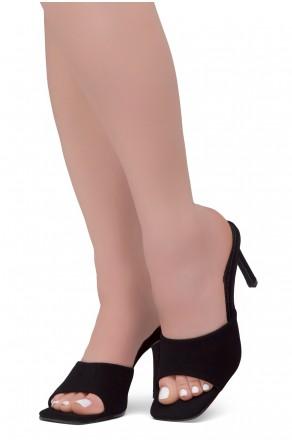 Shoe Land MELROSE Women's Square Open Toe High Heel Sandals Single Band Slip on Mules (1901BlackNU)