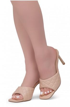 Shoe Land MELROSE Women's Square Open Toe High Heel Sandals Single Band Slip on Mules (Nude)