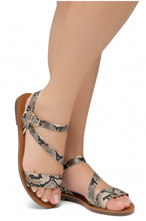 Shoe Land Merina- Lightweight Flat Sandal with Faux Leather Straps Sandals (Nat/Snk)