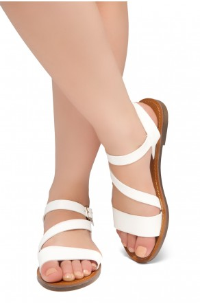 Shoe Land Marinna- Lightweight Flat Sandal with Faux Leather Straps Sandals (White)