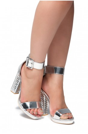 HerStyle Mikaela chunky heel with jewel embellishments (Silver)