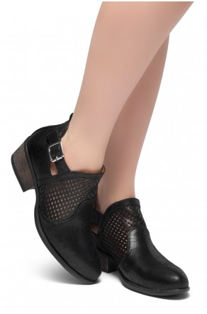 HerStyle Milton-Stacked Low Heel Almond Toe Buckled Decorative Booties (Black)