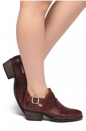 HerStyle Milton-Stacked Low Heel Almond Toe Buckled Decorative Booties (Burgundy)