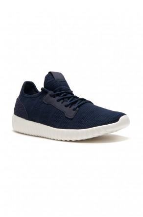 HerStyle Women's Manmade Mirinia Spec Flyknit Contrast Sneakers -Navy