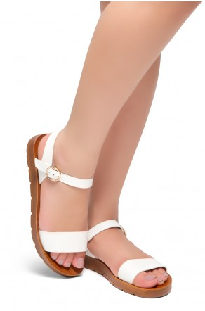 Shoe Land Monday-Women's Open Toe One Band Ankle Strap Flat Sandals (White)