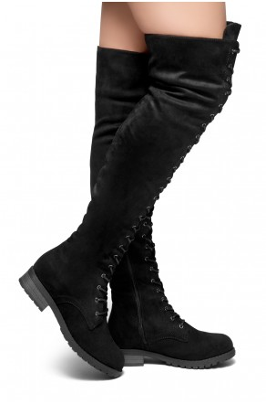HerStyle Move On Up-Women's Fashion Lace up Over-The-Knee Boots (Black)