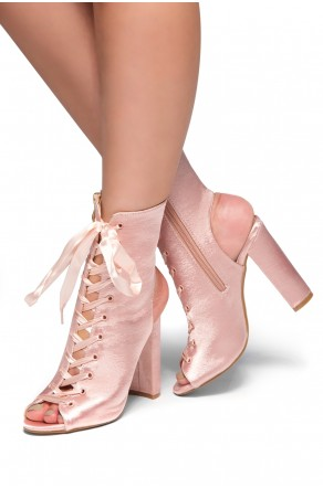 HerStyle Muriele-Peep toe, Chunky heel, Front lace-up (Nude)