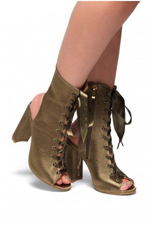 HerStyle Muriele-Peep toe, Chunky heel, Front lace-up (Olive)