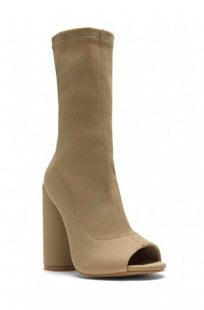 HerStyle Myronna Knit Sock Fit, Peep Toe booties, round heel (Beige)
