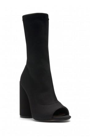 HerStyle Myronna Knit Sock Fit, Peep Toe booties, round heel (Black)