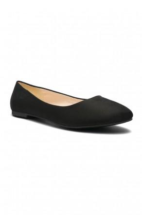 Herstyle Women's Manmade  N-Samma Faux Suede Round Toe Ballet Flat (Black)