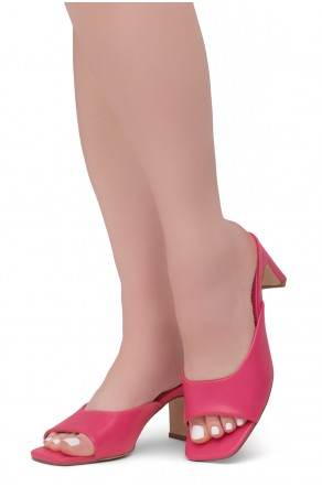 Shoe Land NATASSIA Slip-on Classic Daily Slides Square Toe Block Heeled Sandals(Fuchsia)