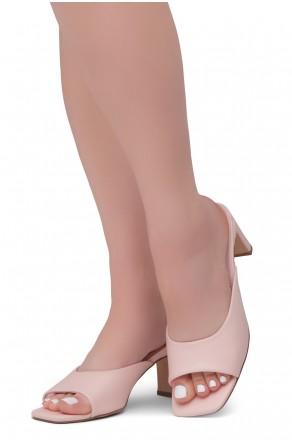 Shoe Land NATASSIA Slip-on Classic Daily Slides Square Toe Block Heeled Sandals(Pink)