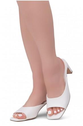 Shoe Land NATASSIA Slip-on Classic Daily Slides Square Toe Block Heeled Sandals(White)