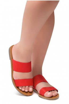 HerStyle Native- Open Toe Double Strap Vamp Open Back Easy Slide Sandals (Red)
