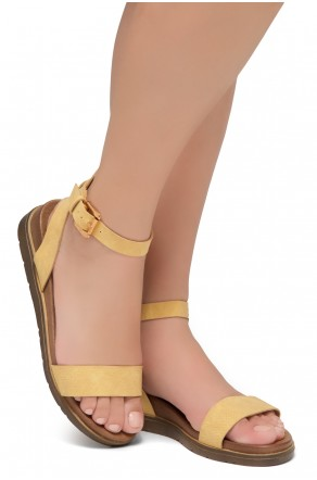 Shoe land Needed Me- Ankle Strap Flat Platform Sandal (1896MustardNu)