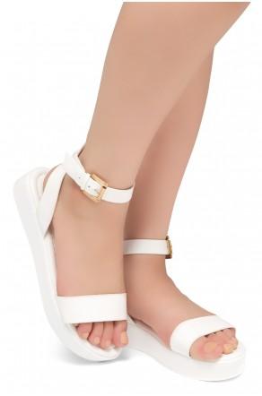 HerStyle Needed Me- Ankle Strap Flat Platform Sandal (White/White)