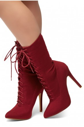 HerStyle Neely-Almond toe, stiletto heel, sock booties (Burgundy)