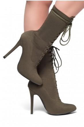 HerStyle Neely-Almond toe, stiletto heel, sock booties (Olive)